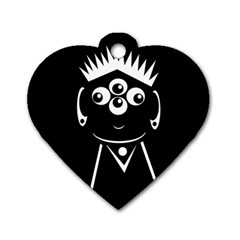 Black and white voodoo man Dog Tag Heart (One Side)