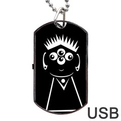 Black and white voodoo man Dog Tag USB Flash (One Side)