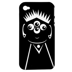 Black and white voodoo man Apple iPhone 4/4S Hardshell Case (PC+Silicone)