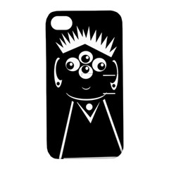 Black and white voodoo man Apple iPhone 4/4S Hardshell Case with Stand