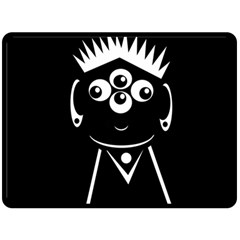 Black and white voodoo man Double Sided Fleece Blanket (Large)