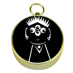 Black and white voodoo man Gold Compasses