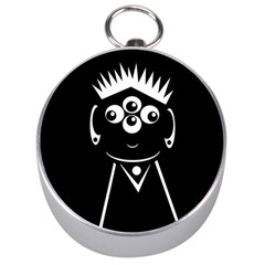 Black and white voodoo man Silver Compasses