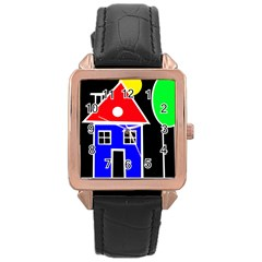 Kids drawing Rose Gold Leather Watch