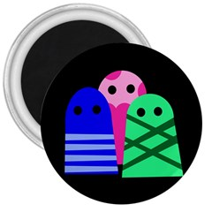 Three monsters 3  Magnets