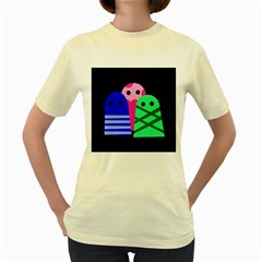 Three monsters Women s Yellow T-Shirt