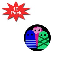 Three monsters 1  Mini Buttons (10 pack)