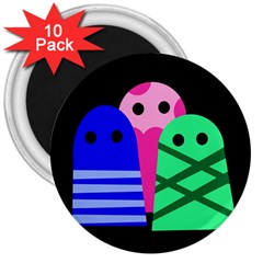 Three monsters 3  Magnets (10 pack)