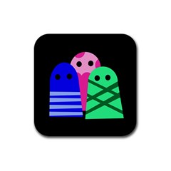 Three monsters Rubber Coaster (Square)