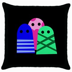 Three monsters Throw Pillow Case (Black)