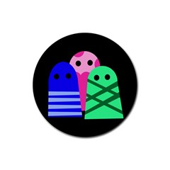 Three monsters Rubber Round Coaster (4 pack)