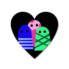 Three monsters Heart Magnet