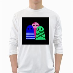 Three monsters White Long Sleeve T-Shirts