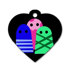 Three monsters Dog Tag Heart (Two Sides)