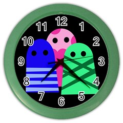 Three monsters Color Wall Clocks
