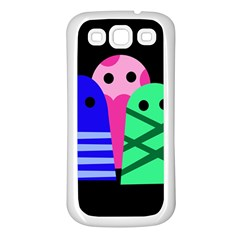 Three monsters Samsung Galaxy S3 Back Case (White)