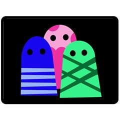 Three monsters Double Sided Fleece Blanket (Large)