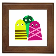Three mosters Framed Tiles