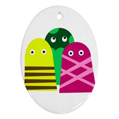 Three mosters Ornament (Oval)