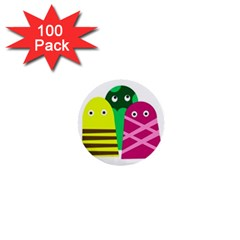Three mosters 1  Mini Buttons (100 pack)