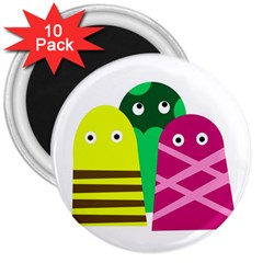 Three mosters 3  Magnets (10 pack)