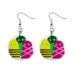 Three mosters Mini Button Earrings