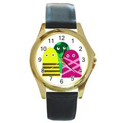 Three mosters Round Gold Metal Watch