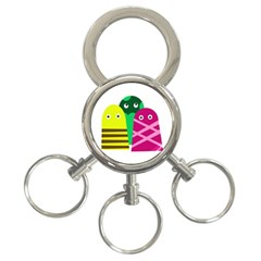 Three mosters 3-Ring Key Chains