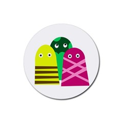 Three mosters Rubber Round Coaster (4 pack)