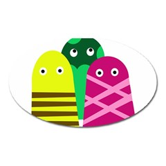 Three mosters Oval Magnet