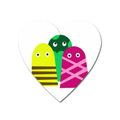 Three mosters Heart Magnet