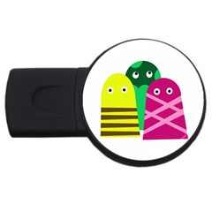 Three mosters USB Flash Drive Round (1 GB)