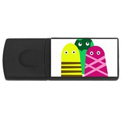 Three mosters USB Flash Drive Rectangular (2 GB)