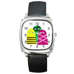 Three mosters Square Metal Watch