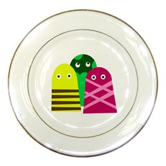 Three mosters Porcelain Plates