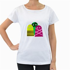 Three mosters Women s Loose-Fit T-Shirt (White)