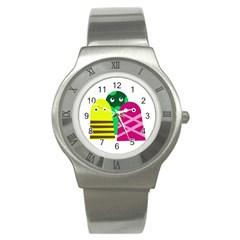 Three mosters Stainless Steel Watch