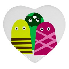 Three mosters Heart Ornament (2 Sides)