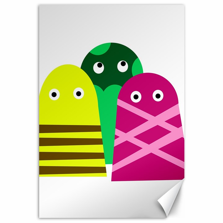 Three mosters Canvas 12  x 18