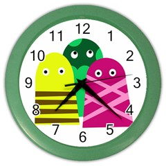 Three mosters Color Wall Clocks