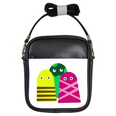 Three mosters Girls Sling Bags