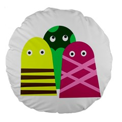 Three mosters Large 18  Premium Round Cushions
