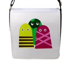 Three mosters Flap Messenger Bag (L)