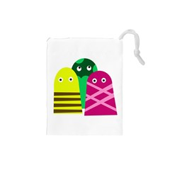 Three mosters Drawstring Pouches (Small)