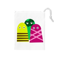 Three mosters Drawstring Pouches (Medium)