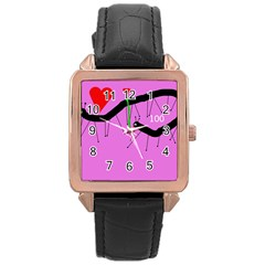 Centipedes Rose Gold Leather Watch