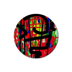Colorful abstraction Rubber Coaster (Round)