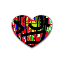 Colorful abstraction Rubber Coaster (Heart)