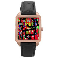 Colorful abstraction Rose Gold Leather Watch