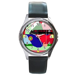 Abstract train Round Metal Watch